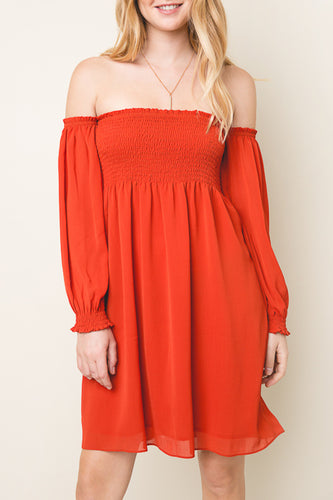 Burnt Orange Off The Shoulder Tunic