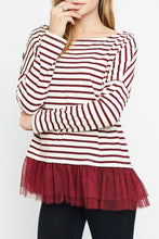 Load image into Gallery viewer, Burgundy Striped Long Sleeve Top with Tulle