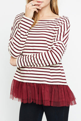 Burgundy Striped Long Sleeve Top with Tulle