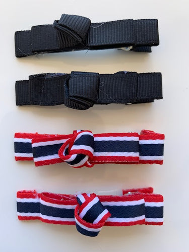 Black, Red and White Hair Clips (4) Pieces