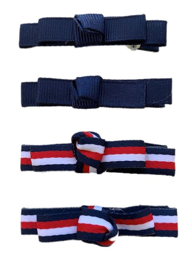 Navy White and Red Hair Clip