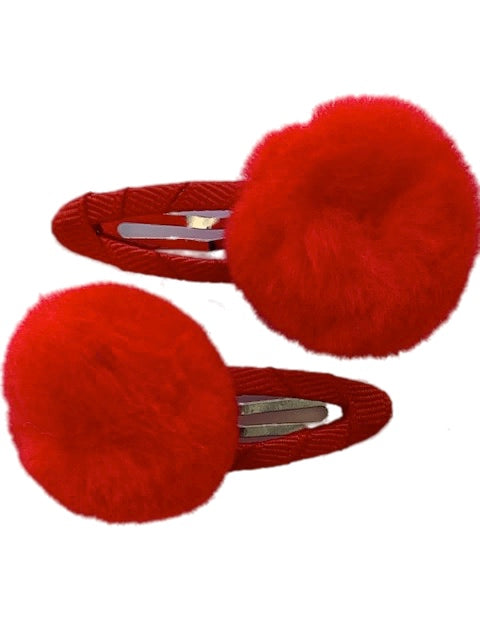 Red Pom Hair Clip          (2) Pieces