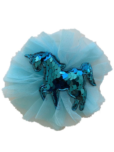 Light Blue Glitter Unicorn Clip (1)