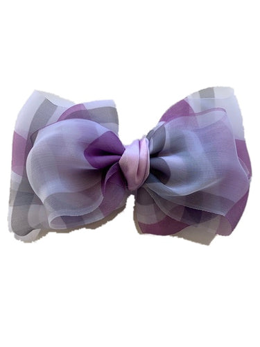 Purple White and Gray Bow