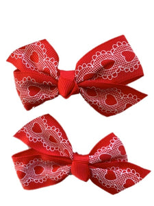 Red Bow with White Lace Hearts