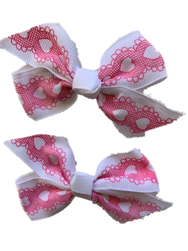 White Bow with Pink Lace Hearts