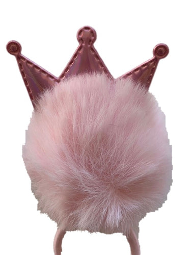 Pink Princess Crown Pom (1) Piece