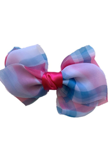 Pink White and Light Blue Soft Bow Clip