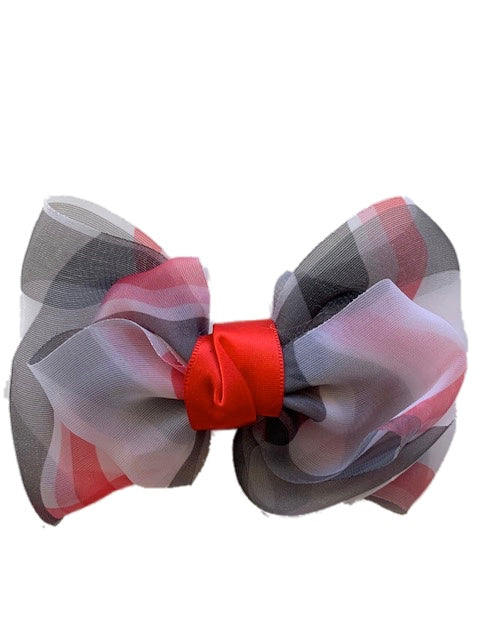 Red White and Black Soft Bow with Clip