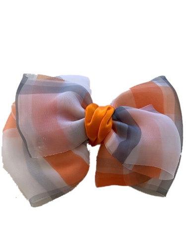 Orange White and Black Soft Bow Clip