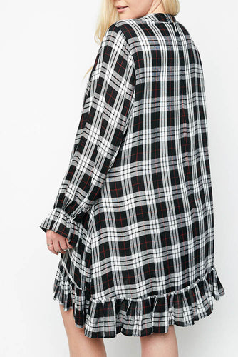 White and Black Plaid Ribbon Dress
