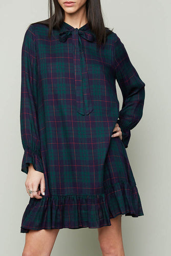 Green/Navy Plaid Ribbon Tie Dress