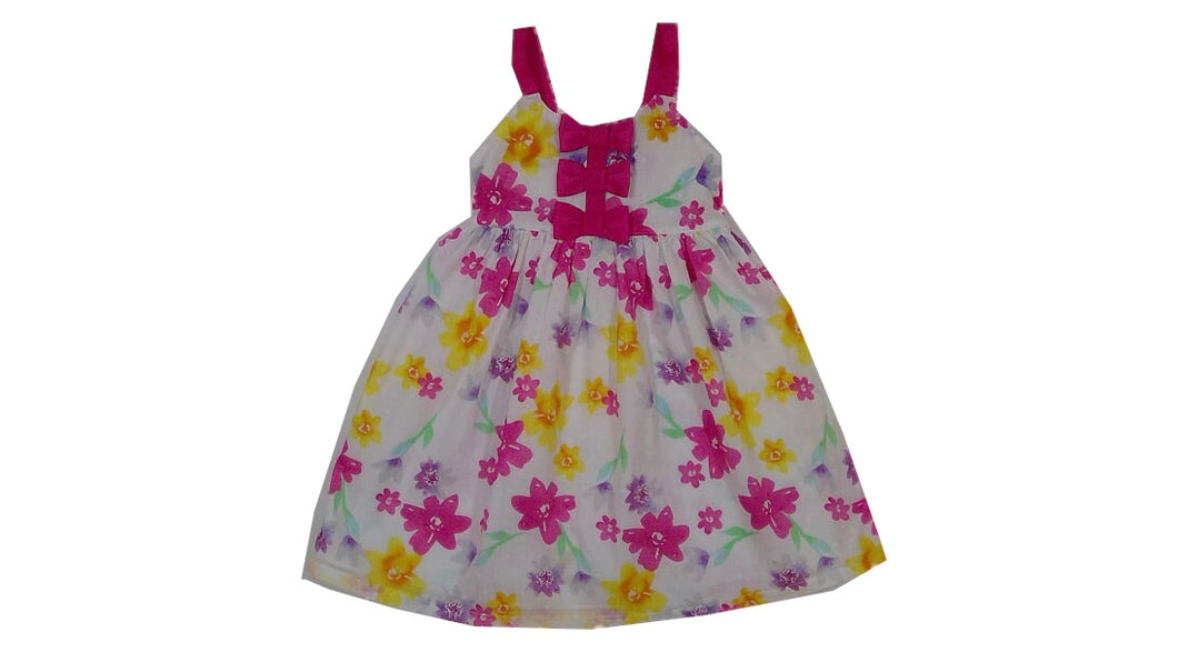 Floral Dress with Pink Bows