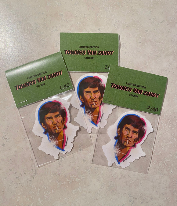 'Townes Van Zandt' Clear Vinyl Sticker *LIMITED EDITION*