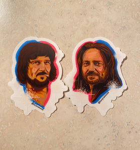 'Waylon & Willie' Sticker Pack- Clear Vinyl Stickers