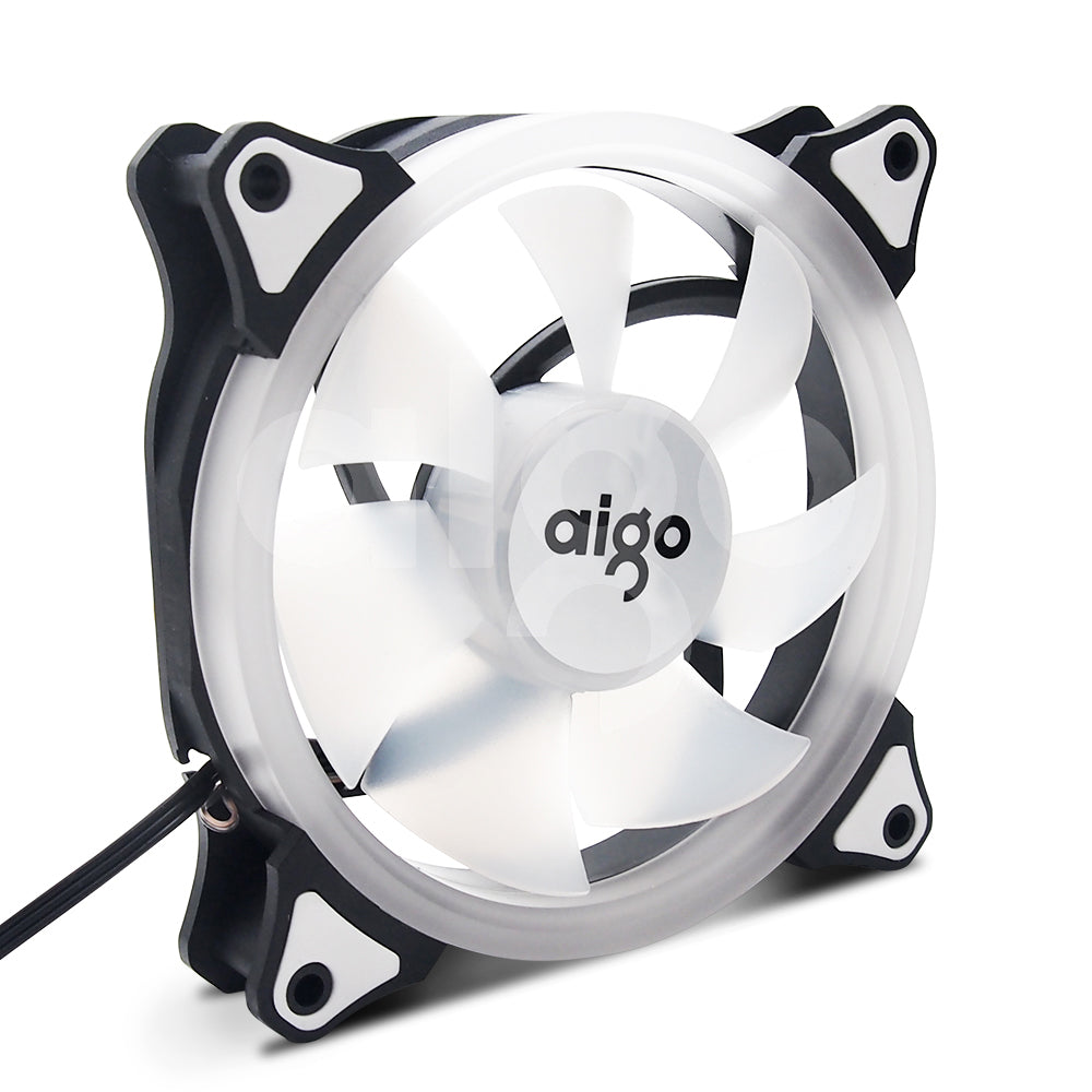 Aigo Halo Ring Blue LED 120mm 12cm PC Computer Case Cooling Neon Quite Clear Fan Mod 4 Pin/3 Pin