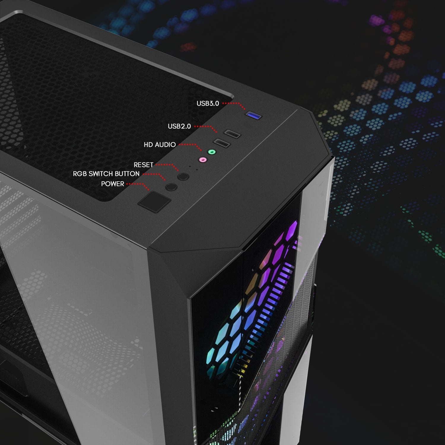 darkFlash BF5 Full Tower Gaming Case EATX MB Mesh Front Panel and 2PCS 20 cm case Fans Pre-Installed