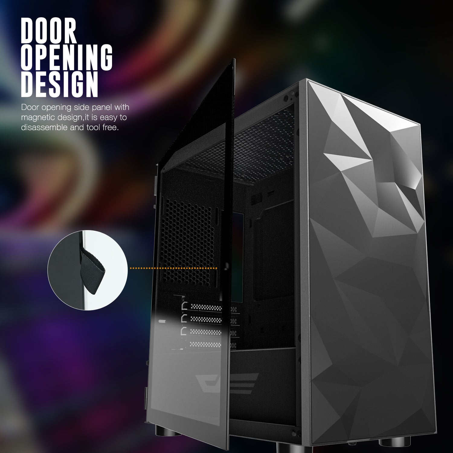 darkFlash DLM21 Black Micro Computer Case with Door Opening Tempered Glass Type Side Panel