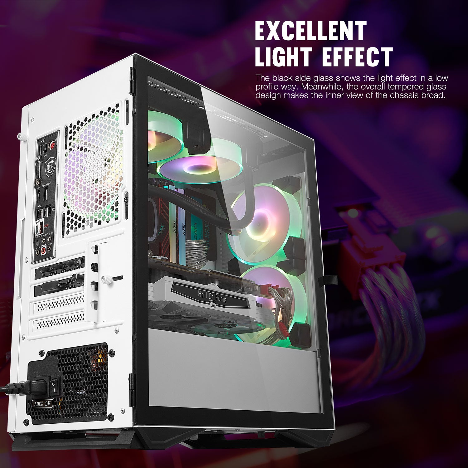 darkFlash DLM22 White MicroATX Computer Case with Door Opening Tempered Glass Type Side Panel