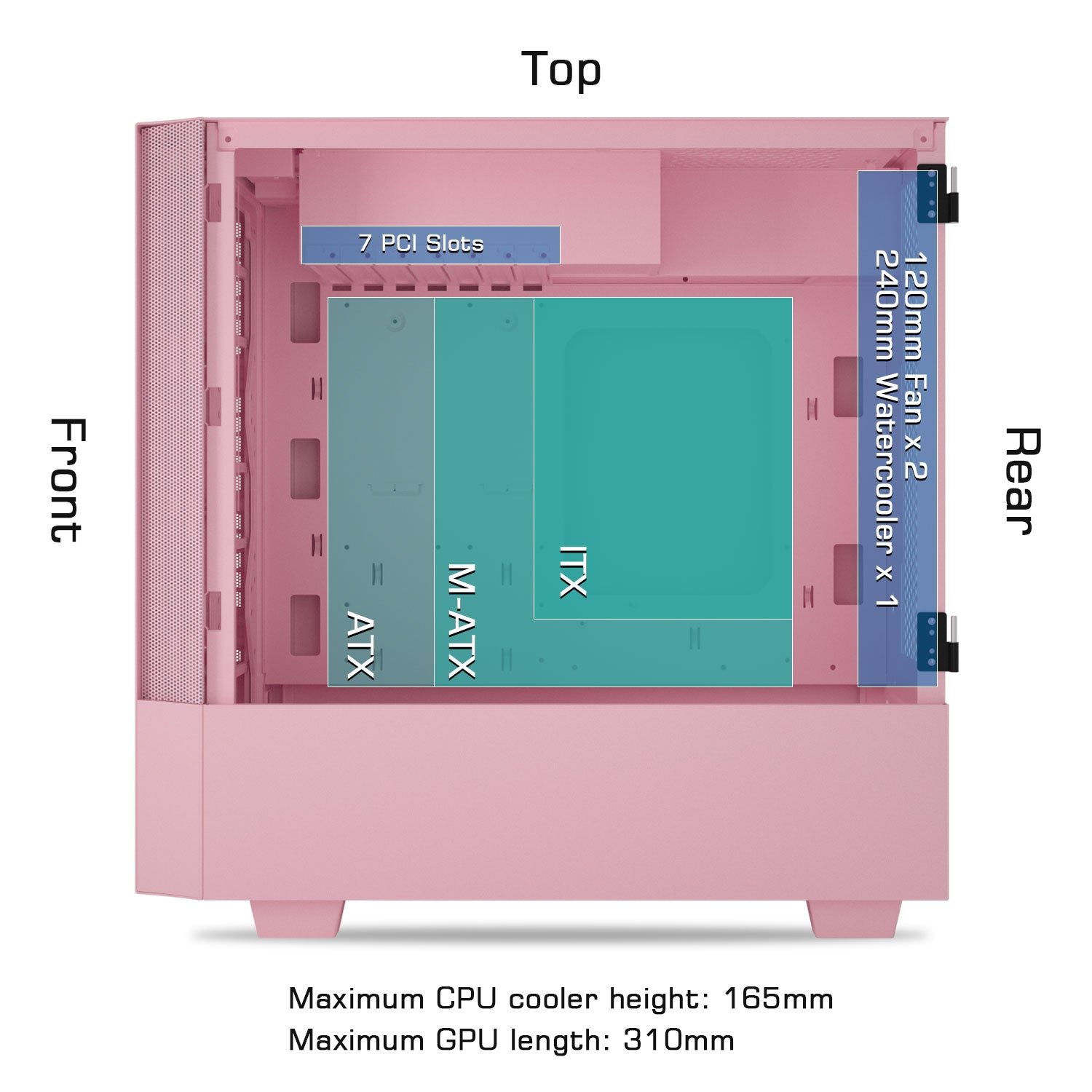 darkFlash V22 Pink Mid Tower ATX Case Open Door Tempered Glass Panel&Vertical Graphics Card Instal