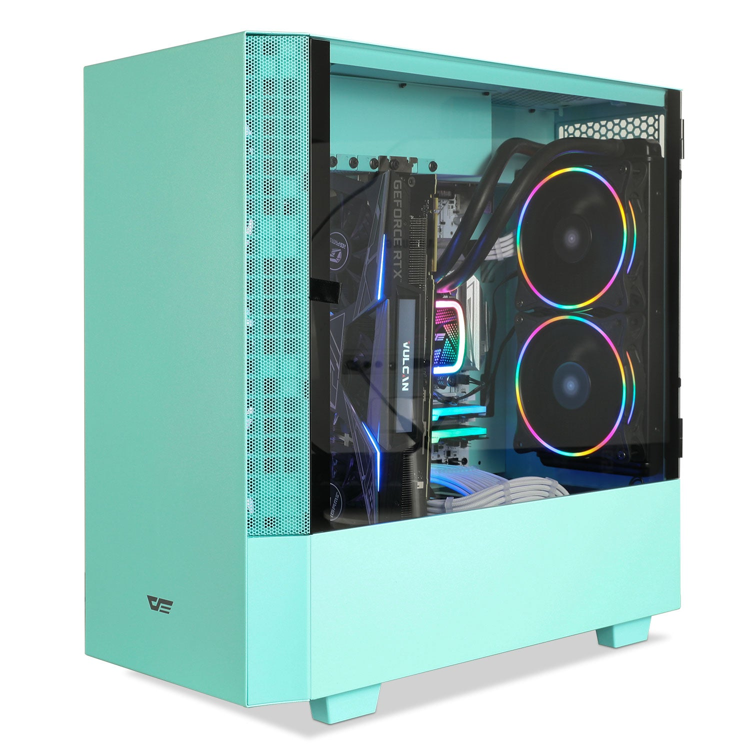 darkFlash V22 Mint Green Mid Tower ATX Case Opening Door Design&Vertical Graphics Card Instal