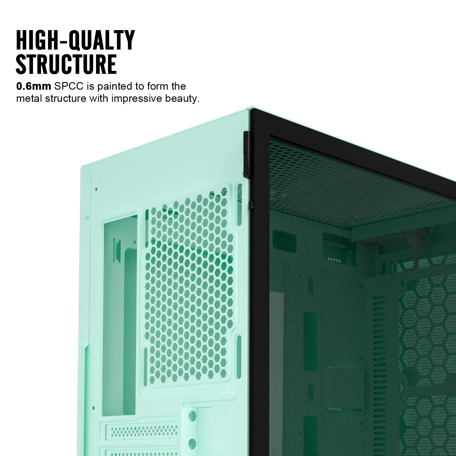 darkFlash DLM21 Mint Green MESH Mico ATX Computer Case with Tempered Glass Side Panel & Mesh Front Panel