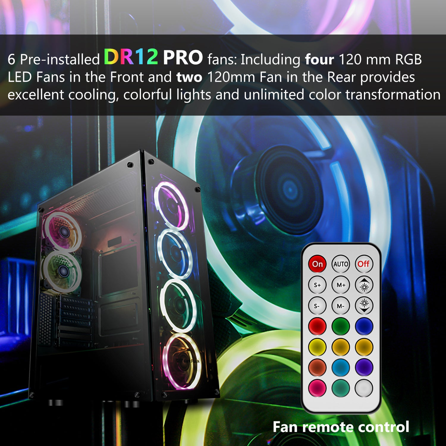 darkFlash Phantom ATX Mid-Tower Gaming Case Tempered Glass & 6pcs 120mm DR12 RGB Fans Pre-Installed