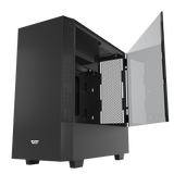 darkFlash V22 Black Mid Tower ATX Case Open Door Tempered Glass Panel&Vertical Graphics Card Instal