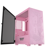 darkFlash DLM21 Pink MESH Mico ATX Computer Case with Tempered Glass Side Panel & Mesh Front Panel