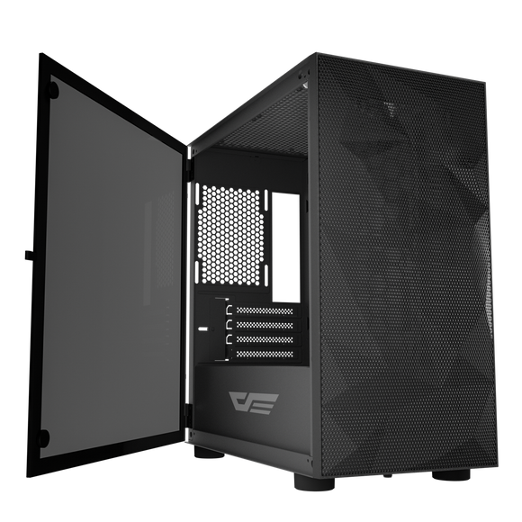 darkFlash DLM21 MESH Black Mico ATX Computer Case with Tempered Glass Side Panel & Mesh Front Panel