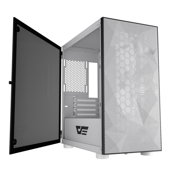 darkFlash DLM21 MESH White Micro ATX Computer Case with Tempered Glass Side Panel & Mesh Front Panel