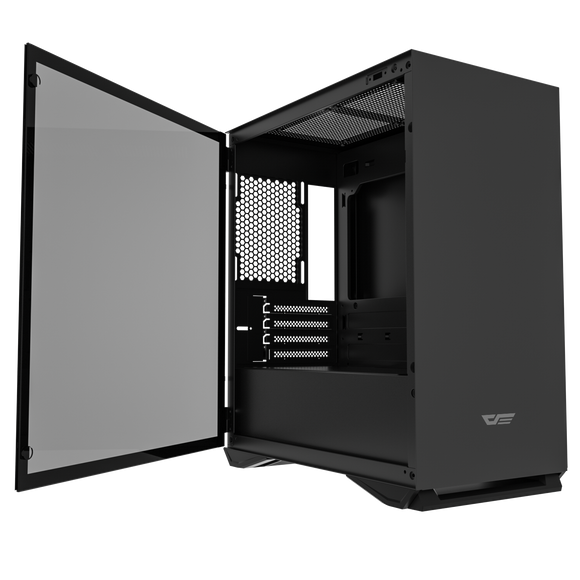 darkFlash DLM22 Black MicroATX Computer Case with Door Opening Tempered Glass Type Side Panel