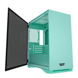 darkFlash DLM22 Mint Green MicroATX Computer Case with Door Opening Tempered Glass Side Panel