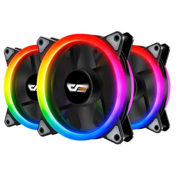 darkFlash DR12 Pro 3-Pack Addressable 120mm RGB LED Case Fan Kit with Controller and Remote