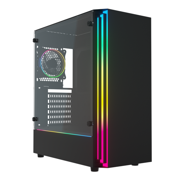 darkFlash J11 ATX Mid-Tower Gaming Case Tempered Glass with 1pcs 12cm LED MR12 RGB Fan Pre-Installed