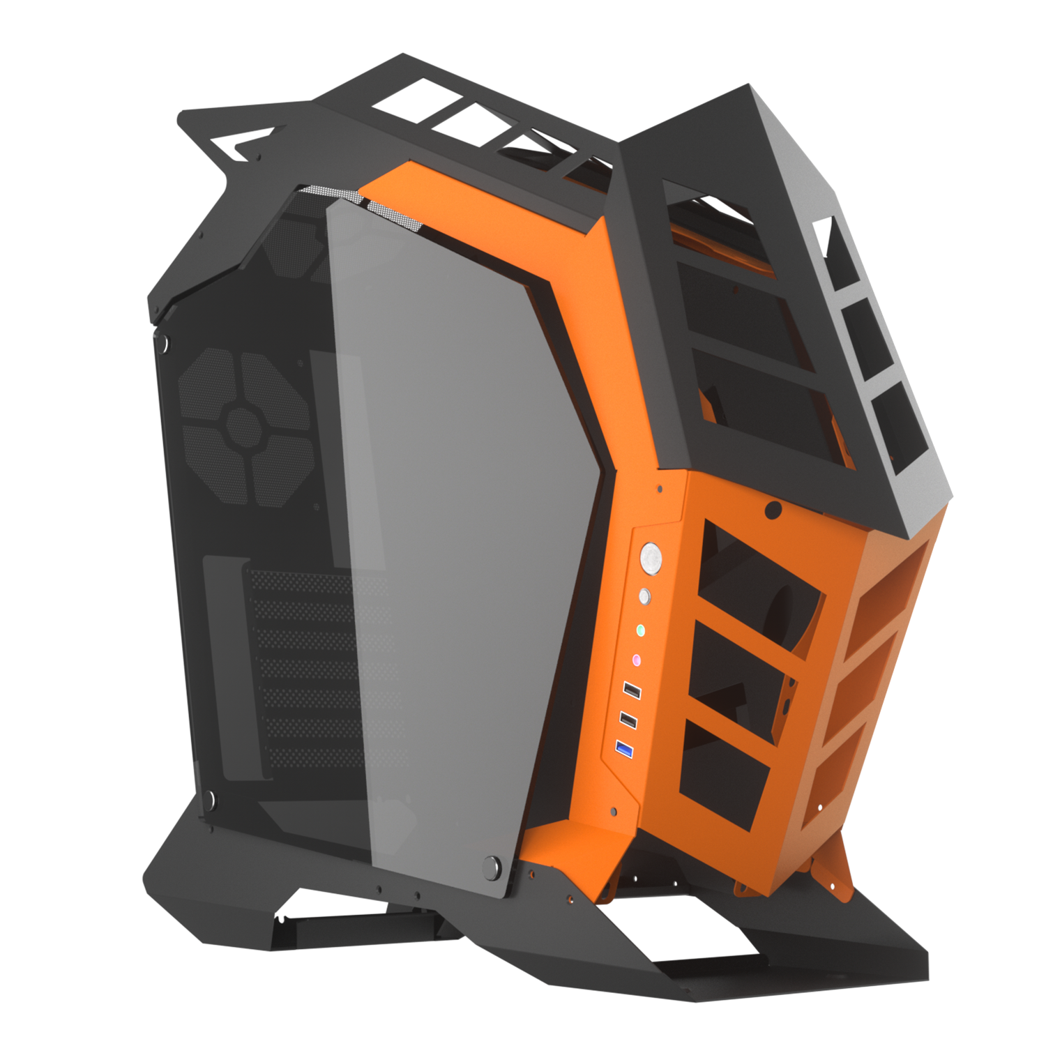 darkFlash Knight Open Frame ATX PC Case Mid Tower Aluminum Gaming Case & Two Sides of Tempered Glass