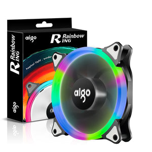 Aigo Halo Ring Rainbow LED 120mm 12cm PC Computer Case Cooling Neon Quite Clear Fan Mod 4 Pin/3 Pin