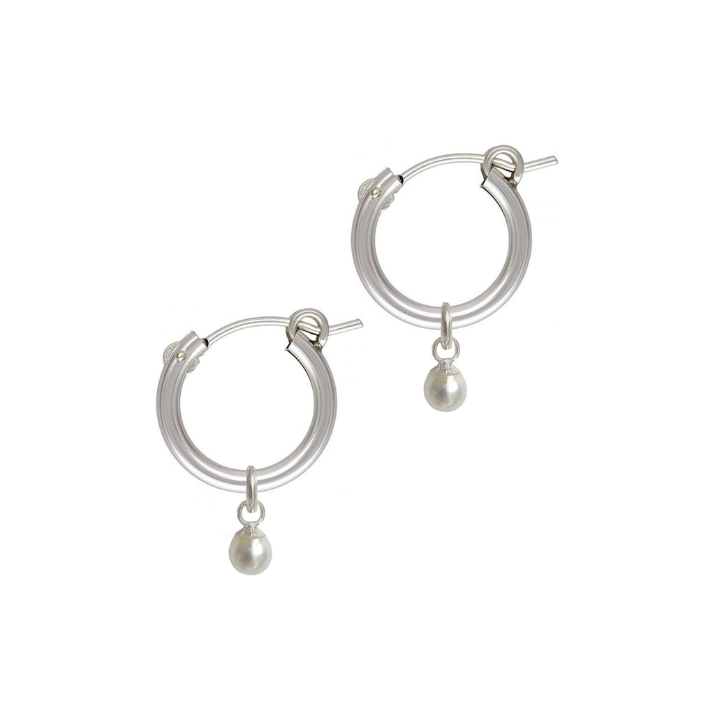 PEARL BALL HOOP 15mm • STERLING 925