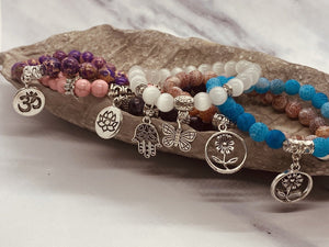 Handmade Natural Stone Stackable Bracelet with Charm