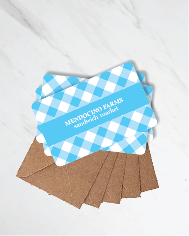 Gift Cards: Blue Gingham (Pack of 5)