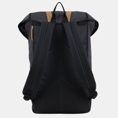 Fuel Top Flap Over Backpack With Coco Leather-Like Trim and Magnetic Snap Closure in Black Chambray