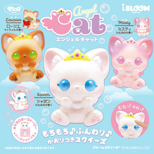 iBloom Angel Cat Squishies with Laurier (Caramel Scented) at the Top Left in Brown with Green Eyes, Misty (Cotton Candy Scented) at the Top Right in Pink with Pink Eyes, and Savon (Cotton Candy Scented) in White with Blue Eyes. All are squishy and licensed by iBloom~