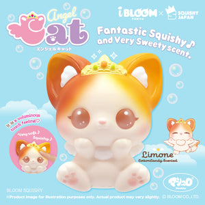 Limited Edition Limone Angel Cat Squishy with a Brownish coloring at the Top Left Ear and a Yellowish Coloring at the Top Right Ear. Her Eyes are Brown!