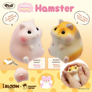 "Sakura Mochi (Pink, Cherry Scented) on the left saying, ""I smell something good."" Golden Hamster (Right, Cherry Scented) on the right is saying, ""You have such cute cheeks."" Both hamster squishies are facing each other"