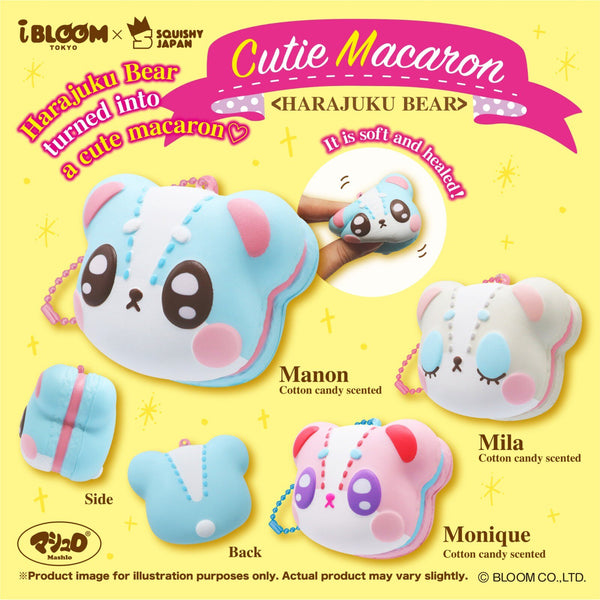 Harajuku Bear Macarons that are Cotton Candy Scented on Display. Manon is at the top left in a Teal color with Pink Filling and Brown, Open Eyes. Mila is at the Top Right with Blue Eyelids that are closed and Pink Filling. Monique is a the bottom in a Pink Color, with Purple Open Eyes, and Blue filling.