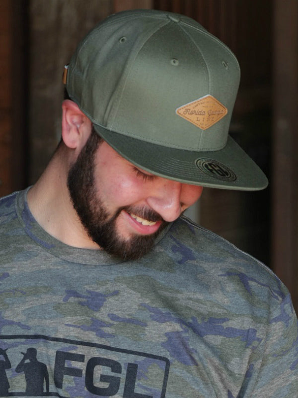Florida Georgia Line Tyler's Patched Olive Flat Brim Hat