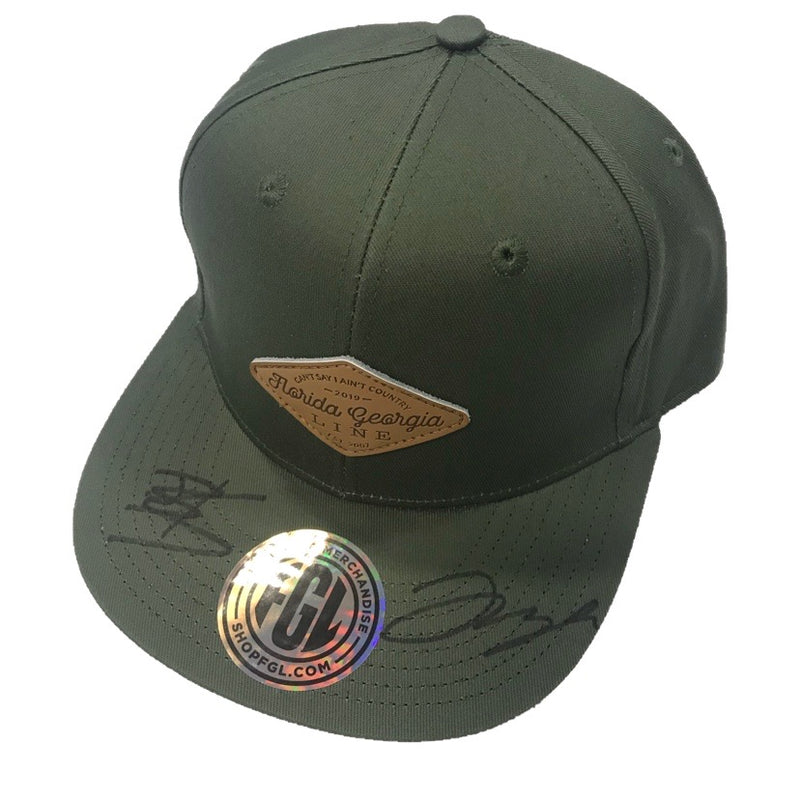 Autographed Florida Georgia Line Tyler's Patched Olive Flat Brim Hat