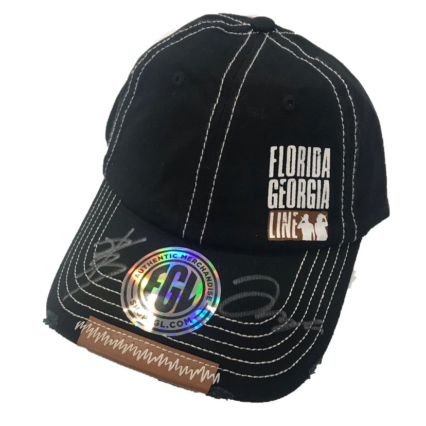 Autographed Florida Georgia Line Stitched Leather Brim Hat