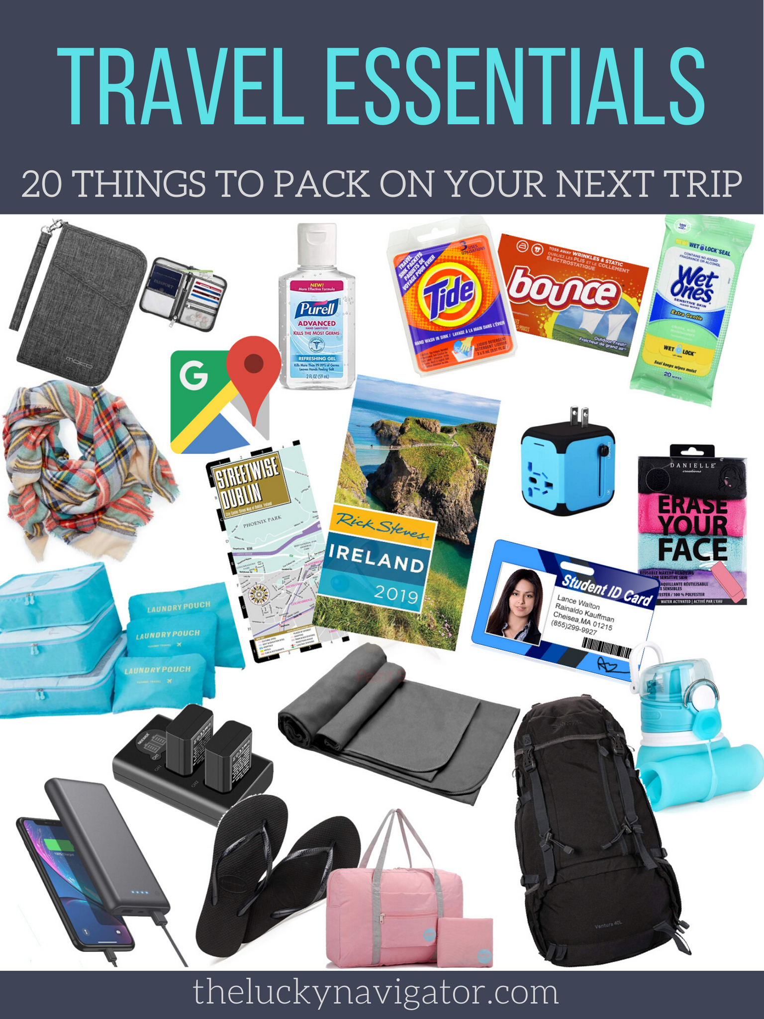 20 travel essentials in a collage