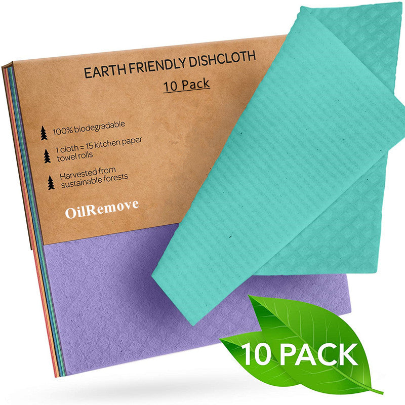 OilRemove Dishcloths Reusable Biodegradable Cellulose Sponge Cleaning Cloths for Kitchen Dish Rags Washing Wipes Paper Towel Replacement Washcloths (10 Pack Assorted Colors)